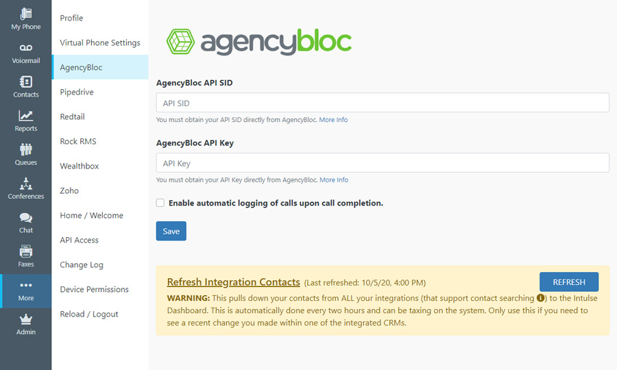 AgencyBloc VoIP Dashboard